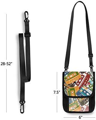 トラベルウォレット ミニ ネックポーチトラベルポーチ ポータブル カラフル カセットテープ 小さな財布 斜めのパッケージ 首ひも調節可能 ネックポーチ スキミング防止 男女兼用 トラベルポーチ カードケース