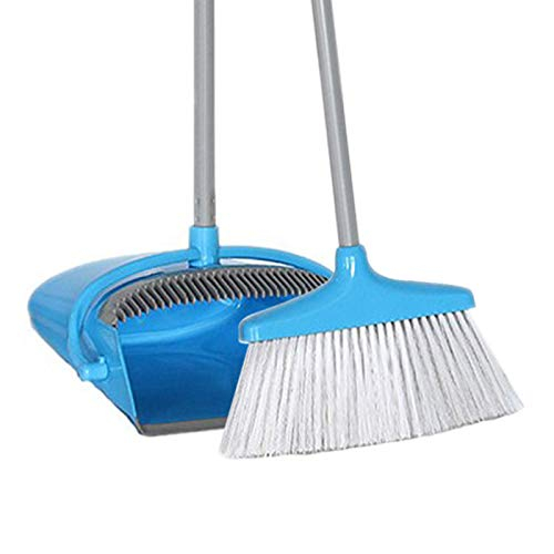 Lobby Broom Dustpan Combo, Plastic Dust Pan and Long Handled Brush Sweeping Set, Stand Up Design - Blue