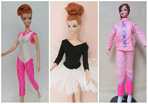 Barbie Outfits For Halloween (HelloJoy Lot 3 Fashion Casual Wear Clothes/outfit for barbie dolls ski ballet Gymnastic)