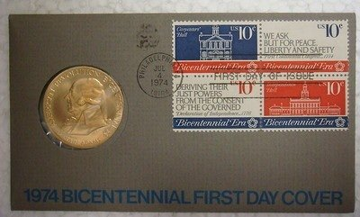 1974 Bicentennial First day cover, Medal of John Adams