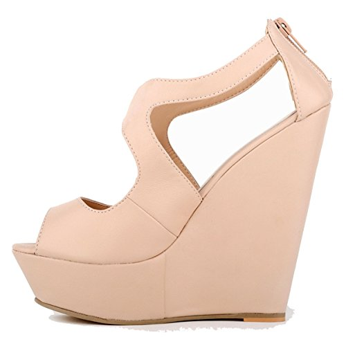 Womens Ankel Matt Strap Wedge Ladies Loslandifen Leater Nude Platform Sandals qf4wCvv