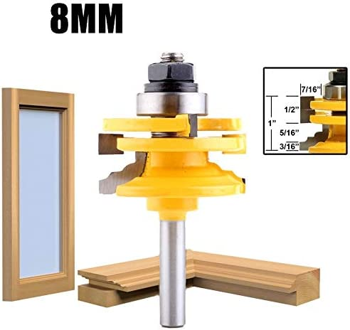 NO LOGO 1Pc/2Pcs 8mm/12.7mm 1/2 Inch Shank Glass Door Rail & Stile Reversible Router Bits Wood Cutting Router Tool (Size : 1pc 8mm And 12.7mm)
