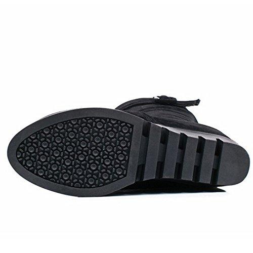 with Boots Calf High Women Black Mid Wedge Buckle Heel Warm Zipper Coolcept qaCw0zC