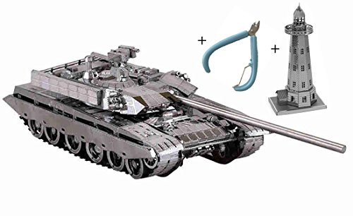 MU 3D Puzzle Metal T-99 Tank Building Model Hand DIY Kits with a gift of