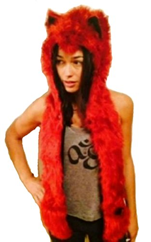 Red Wolf Faux Fur Animal Hats Hoods with Mittens Unisex Gloves Scarf with Paws (Bear Hood With Paw Scarf)