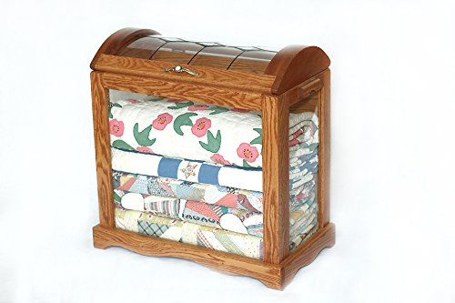 Oak and Curved Glass Quilt Chest
