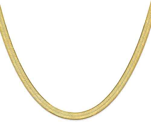 Solid 14k Yellow Gold 6.5mm Silky Herringbone Flat Chain Necklace