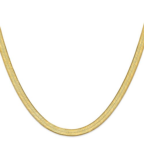FB Jewels Solid 14K Yellow Gold 6.5mm Silky Herringbone Chain Bracelet/Anklet ()