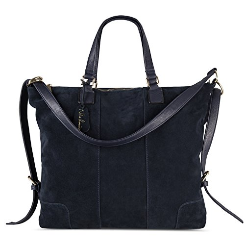 Leather Suede Tote (Nico Louise Women Real Split Suede Leather Shoulder Tote Bag Female Large Leisure Handbag (Navy Blue))
