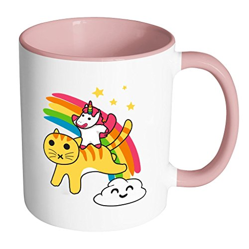 Cartoon Unicorn Riding a Cat along a Happy Cloud | Funny and Cool White 11 oz Accent Coffee Mug In Different (Windows Halloween Screensaver)