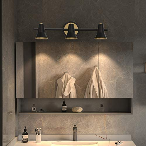 """JOOSENLUX Bathroom Vanity Light Fixtures 3-Light 17.32"""" Inch, Wall Sconces with Black Finish, Vintage Indoor Wall Spot Light for Mirror Cabinet, Pictures, Dressing Table"""