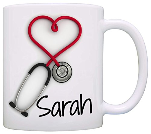 Personalized!! Stethoscope Coffee Mug, a Funny and Unique Gift for Nurses and Doctors, Printed on Both Sides! (Homemade Gift Basket Ideas For Parents)