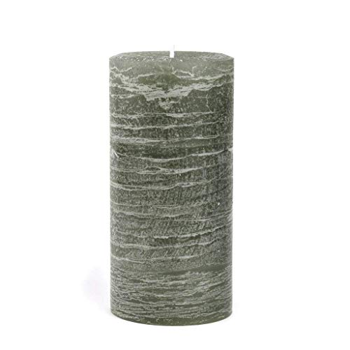Nordic Candle - Rustic Pillar Candle - 3x6 Inch Sage Green - Unscented