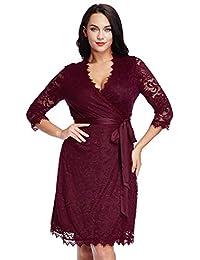 LookbookStore Women's Plus Size Lace 3/4 Sleeves Formal True Wrap Dress
