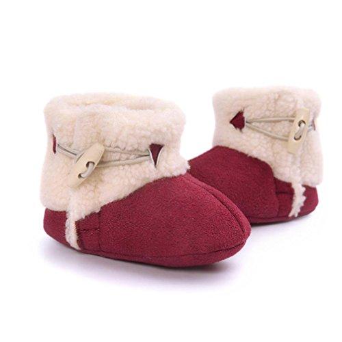 TPulling Herbst Und Winter Mode Baby Warme Baumwollstiefel Weiche Untere Schulschuhe Rot