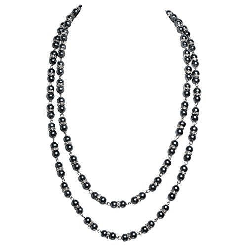 - BABEYOND 1920s Imitation Pearls Necklace with Crystal Gatsby Long Knot Pearl Necklace 55