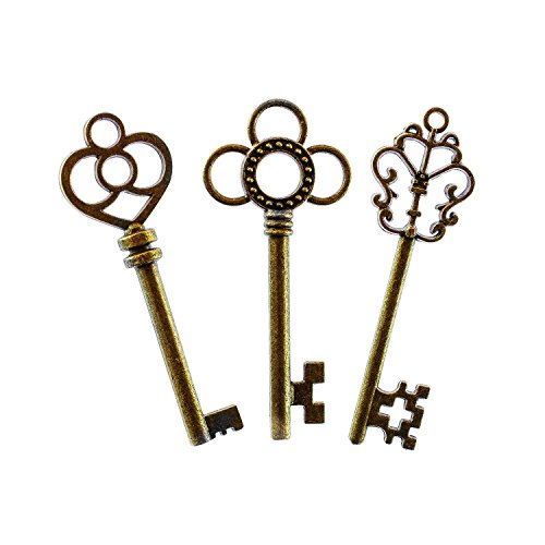 Mixed Set of 30 Large Skeleton Keys with Antique Style Bronze Brass Skeleton Castle Dungeon Pirate Keys for Birthday Party Favors, Mini Treasure Toy Gifts, Medieval Middle Ages Theme (Material Brass Selling)