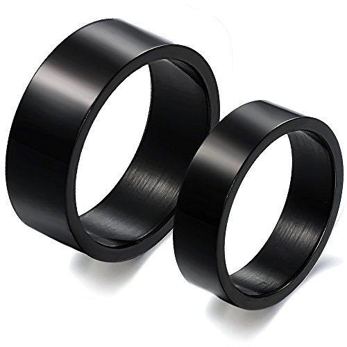 Alimab L Stainless Steel Rings Black Simple Classic Circle Drawing Couple Rings