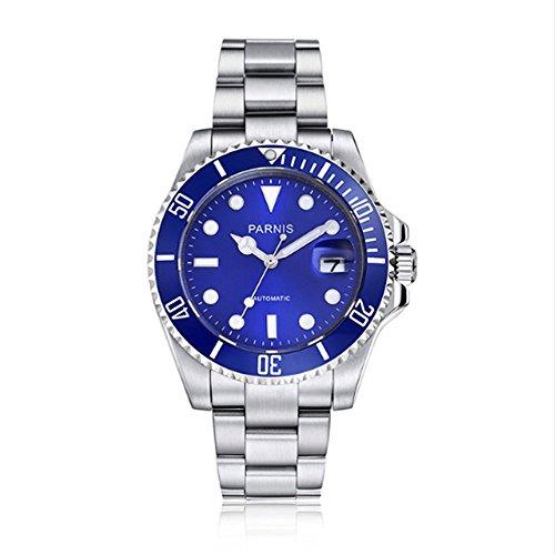 Parnis 40MM Black Dial Sapphire Crystal 21 Jewels Miyota Automatic Movement Men's Wrist Watch Link Belt ()