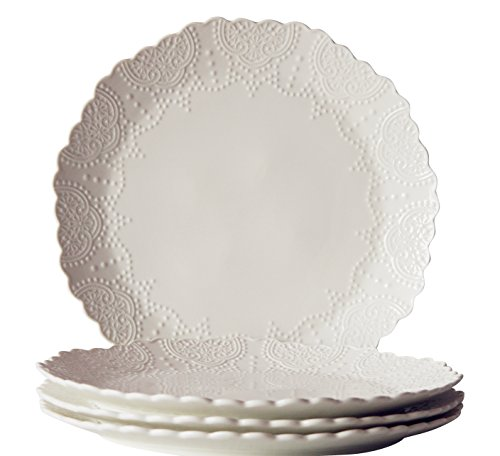 Dinner Plates Set of 4, Accent Serving Plates 10.2 Inch, Scalloped Embossed Porcelain Bone China, (Bone White Dinner Plates)