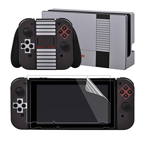eXtremeRate Full Set Faceplate Skin Decal Stickers for Nintendo Switch/NS with 2Pcs Screen Protector (Console & Joy-con & Dock & Grip)- 8-bit NES Style from eXtremeRate