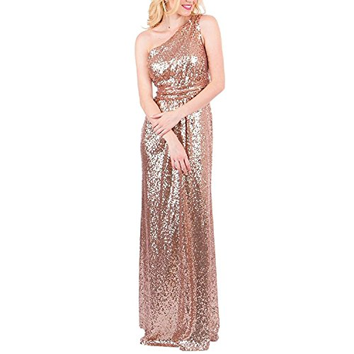 karever Women's Sequined Long Bridesmaid Dresses One Shoulder Pleat Rose Gold Wedding Party Gown (One Sequin)