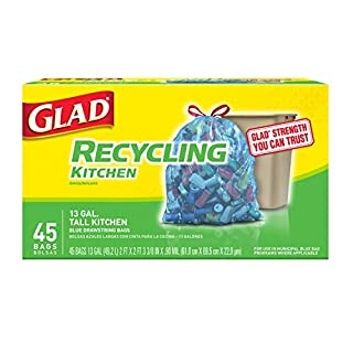 Glad Tall Kitchen Drawstring Recycling Bags - 13 Gallon Blue Trash Bag - 45 Count (Package May Vary)