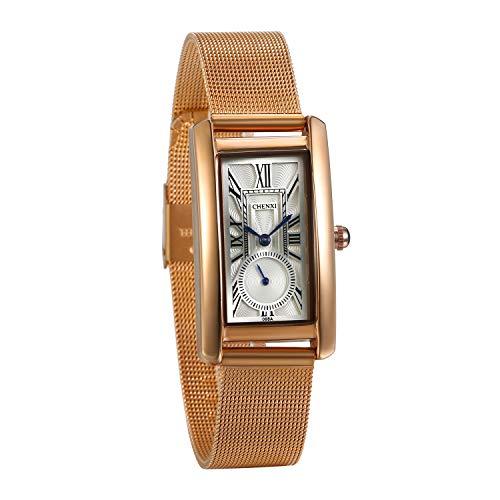 JewelryWe Women Watches Square Dial Quartz Watch Stainless Steel Watchband Wrist Watch Simple Stylish Dressing Watch