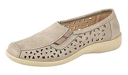 Boulevard Ladies Side Gusset Summer Casual Leather Insock Stone