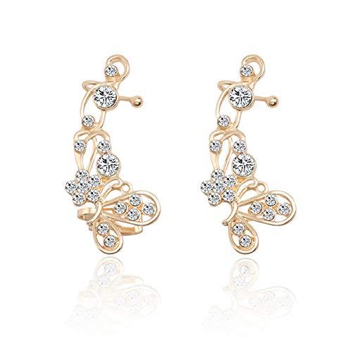 Clip Earrings Flower Rhinestone - MIXIA 1 Pair Women Butterfly Flower Ear Cuff Earring Rhinestone Ear Clip Earrings Pierced Party Jewelry (Gold)