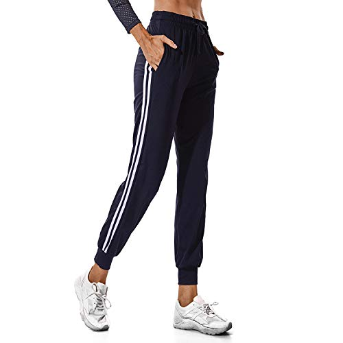FITTOO Women's White Stripe Side Patchwork Panels Jogger Pants Ankle Elastic Running Sweatpants Black -