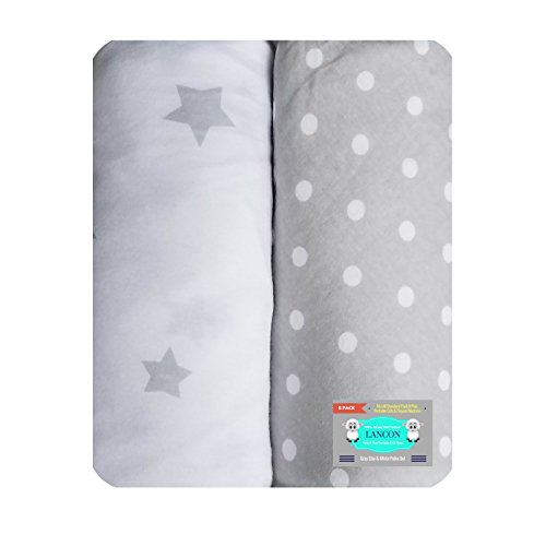 Pack N Play Portable Crib Sheet Set by LANCON Kids - 2 Pack of Ultra Soft, Premium 100% Jersey Knit Cotton Fitted Sheets (Gray Star/White Polka (Knit Fitted Porta Crib Sheet)