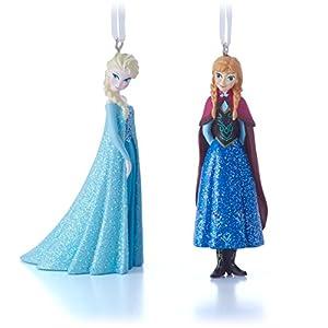 Fabulous Amazon Com Hallmark Disney Elsa And Anna Christmas Ornaments Set Easy Diy Christmas Decorations Tissureus