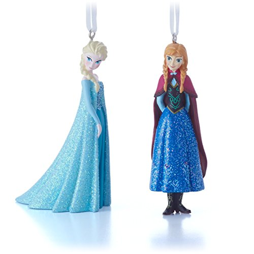 Amazon.com: Hallmark Disney Elsa and Anna Christmas Ornaments, Set ...