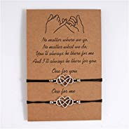 ZYHO 2-Piece Pinky Promise Bracelets Friendship Couple Distance Matching Bracelet Gift for Best Friend Teen Gi