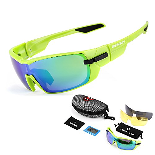 GIEADUN Sports Sunglasses Polarized UV400 Protection Cycling Glasses with 3 Interchangeable Lenses for Cycling, Baseball,Fishing, Ski Running,Golf (Green)