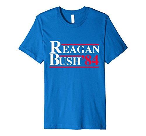Men's Ronald Reagan George Bush 84 1984 Campaign T Shirt Retro Tee 2XL Royal Blue (80s Clothing For Men)