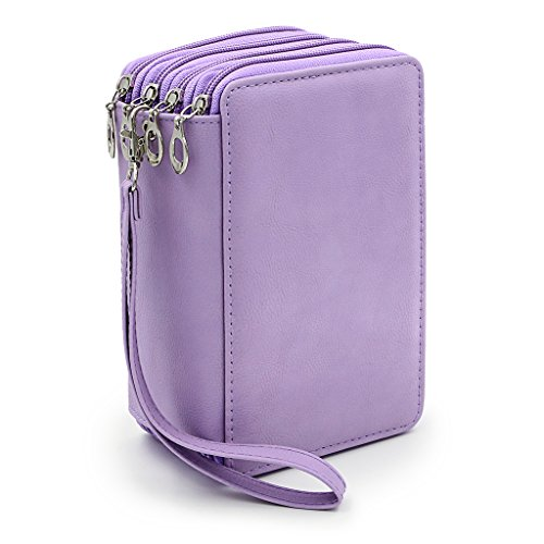 (BTSKY PU Leather Colored Pencil Case with Compartments-72 Slots Handy Pencil Bags Large for Watercolor Pencils, Gel Pens and Ordinary Pencils (Purple) )