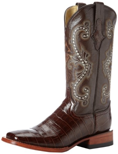 Ferrini Women's Print Alligator S-Toe Western Boot,Chocolate,8.5 B US