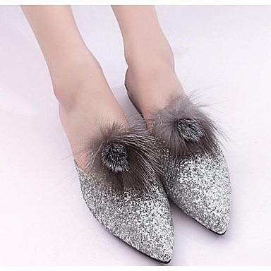 Donne 039 s sandali Comfort PU floccaggio Primavera Estate informale comfort argento bianco nero 2A-2 3 4inSilverUS6 EU36 UK4 CN36