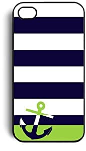Navy Sailor Anchor Rubber Case Cover for Apple Iphone 4 Iphone 4s + Free Wristband Accessory Cellphone Case by ruishername