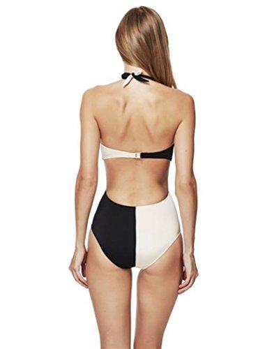YiJee Una Pieza Bikini Halter Sin Respaldo Monokini Entrecruzan Blanco y Negro Trajes de Baño Push-up Bañador Como la imagen