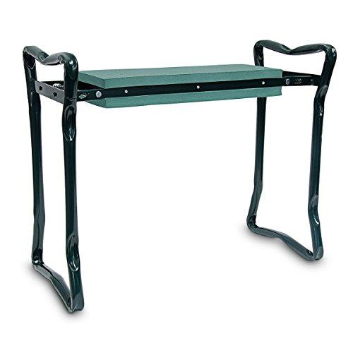 Relaxdays Kniebank und Sitzbank HBT: 47 x 60 x 27 cm ergonomische Gartenbank aus Stahlrohr Gartenhocker mit bequemem Schaumkissen gelenkschonende Kniehilfe für Gartenarbeit klappbar, grün