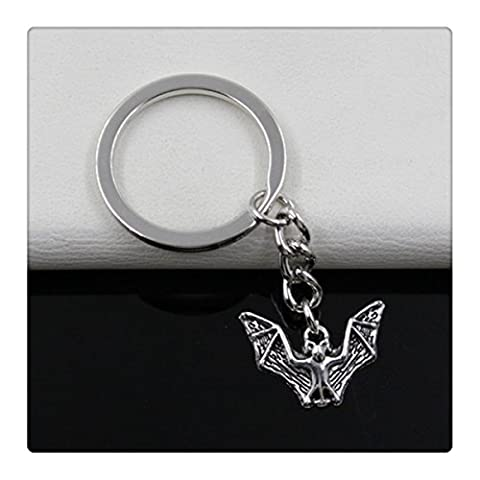Fashion diameter 30mm Key Ring Metal Key Chain Keychain Jewelry Antique Silver Plated bat 1723mm - Silver Plated Keychain