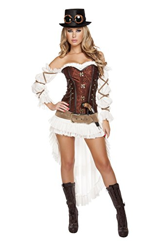 Steampunk Fancy Dress Costumes (Roma Costume Women's 7 Piece Sexy Steampunk Babe, White/Brown, Medium)