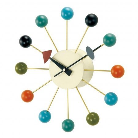 Retro Mod Metal Wall Clock (George Nelson Ball 13 in. Wall Clock - Multi-Colored)