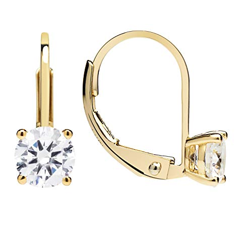 14K Solid Yellow Gold Earrings | Round Cut Cubic Zirconia | Leverback Drop Dangle Basket Setting | .92 CTW | With Gift Box