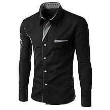 Zawapemia Men's Long Sleeve Slim Fit Shirt Dress Shirt