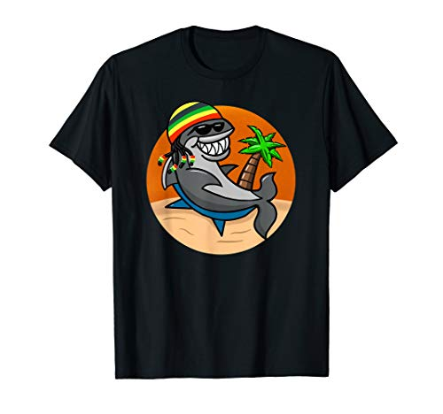 Rasta Shark with Dreadlocks On The Beach Design T-Shirt