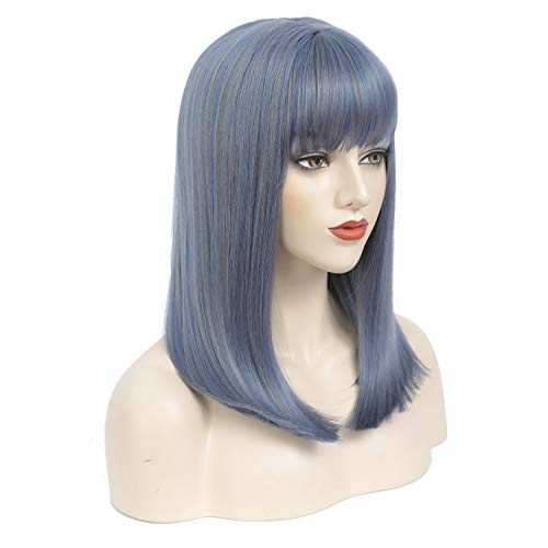 Amchoice Wigs for Woman Short Straight Bob Wig (Grey & Blue)